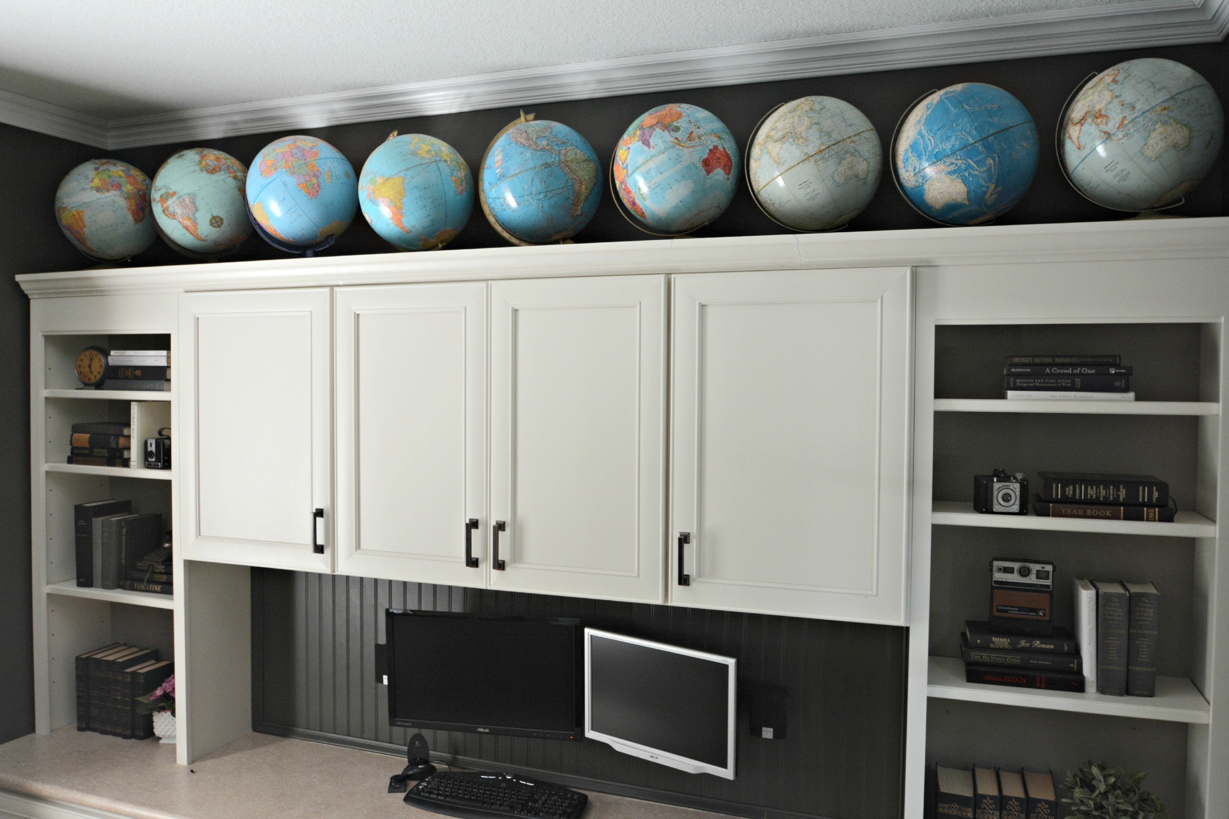 Office built-ins with globes