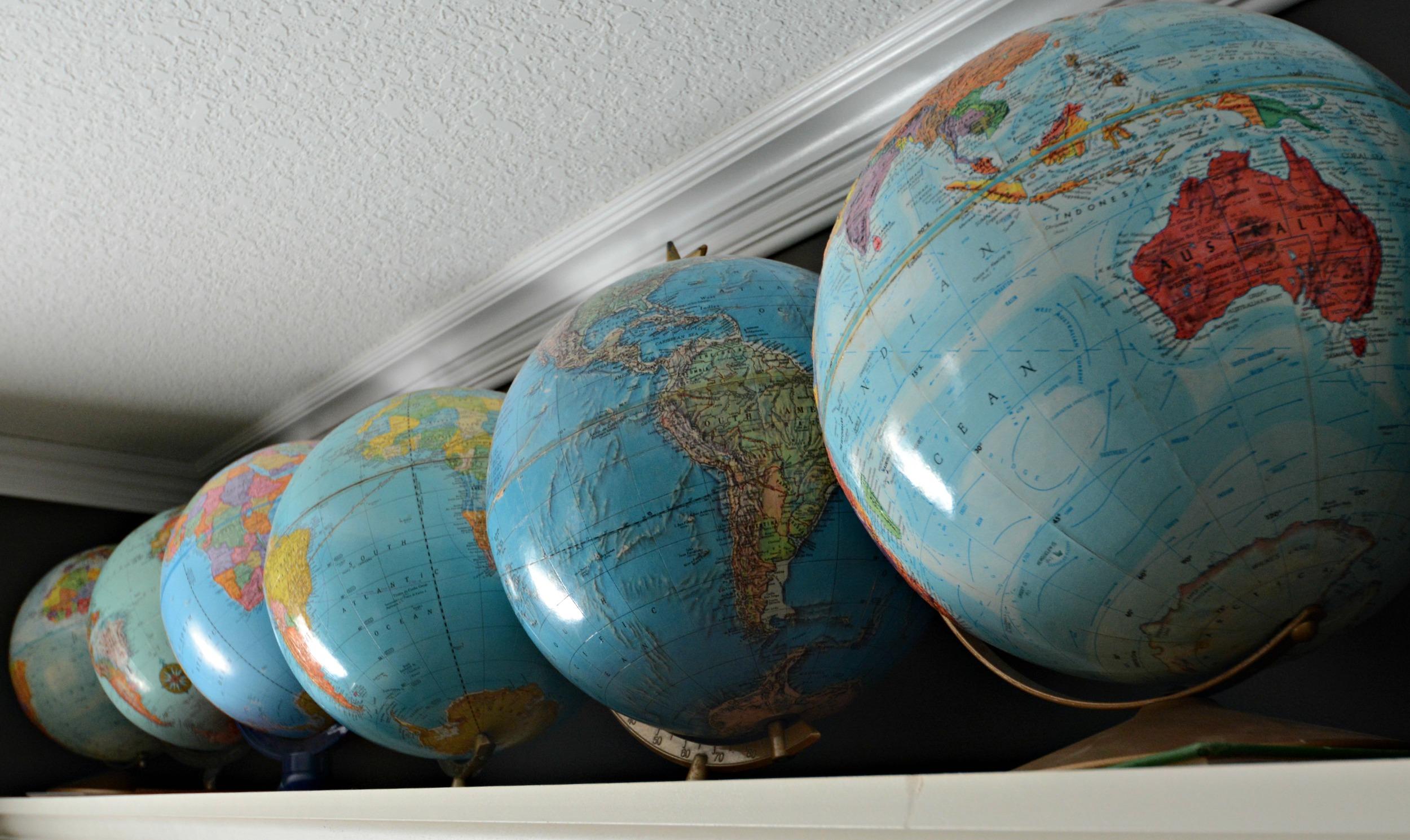 Globe Collection.  Globes as decor.