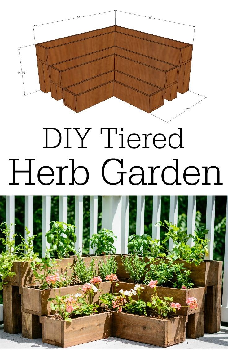 Diy Tiered Herb Garden Tutorial, How To Make A Raised Herb Garden Planter