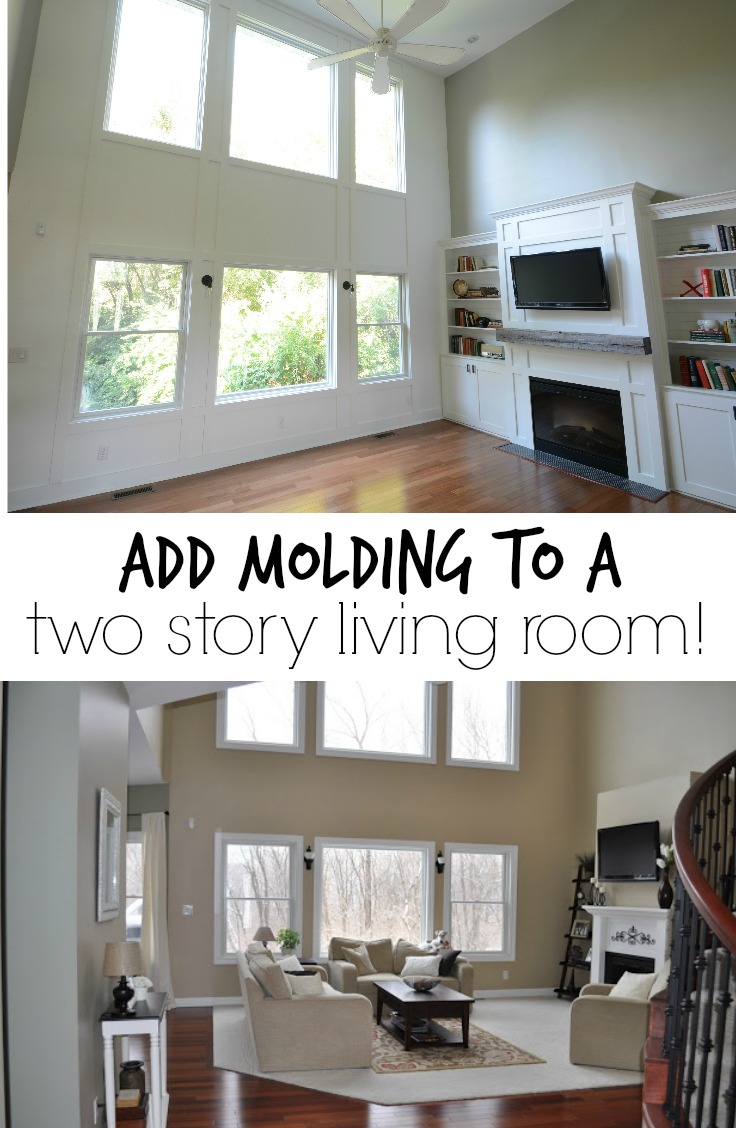Add molding to a two story living room!