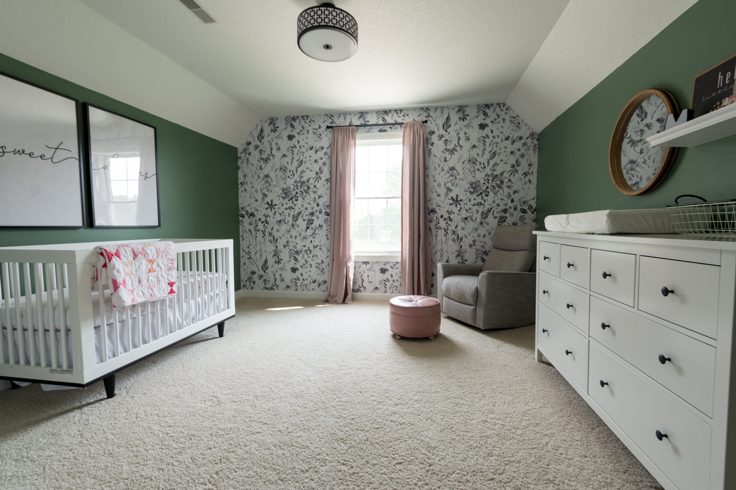Floral and Blush Nursery, Girl Nursery, Wallpaper