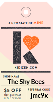 The Shy Bees Kidizen code. Get $5 off your first purchase of $10 or more!
