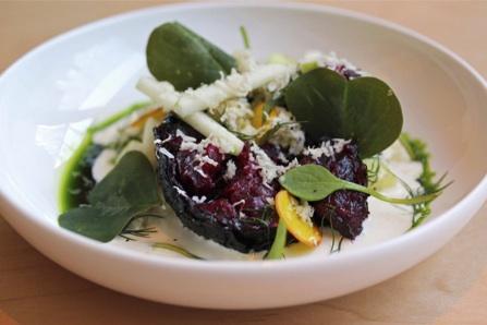 Rotisseri Crisped Beet & Bulgur Salad with Apples & Creamed Horseradish at Narcissa