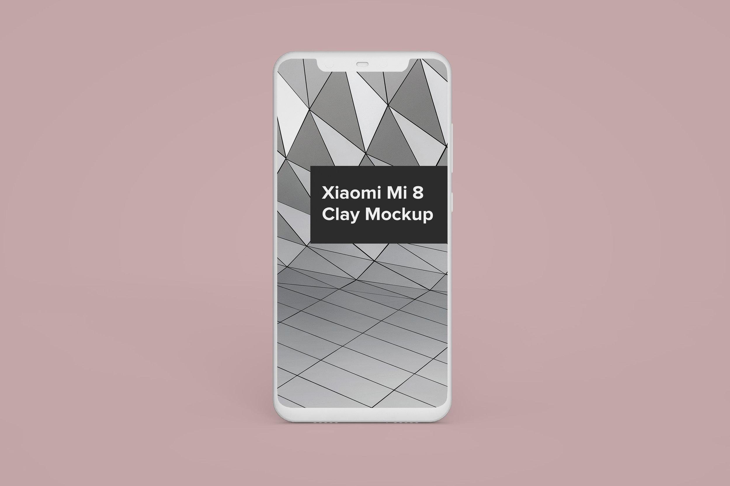 Xiaomi Mi8 Clay Android Mockup - $3.00 USD - Minimal editable Xiaomi Mi8 mockup with smart objects.