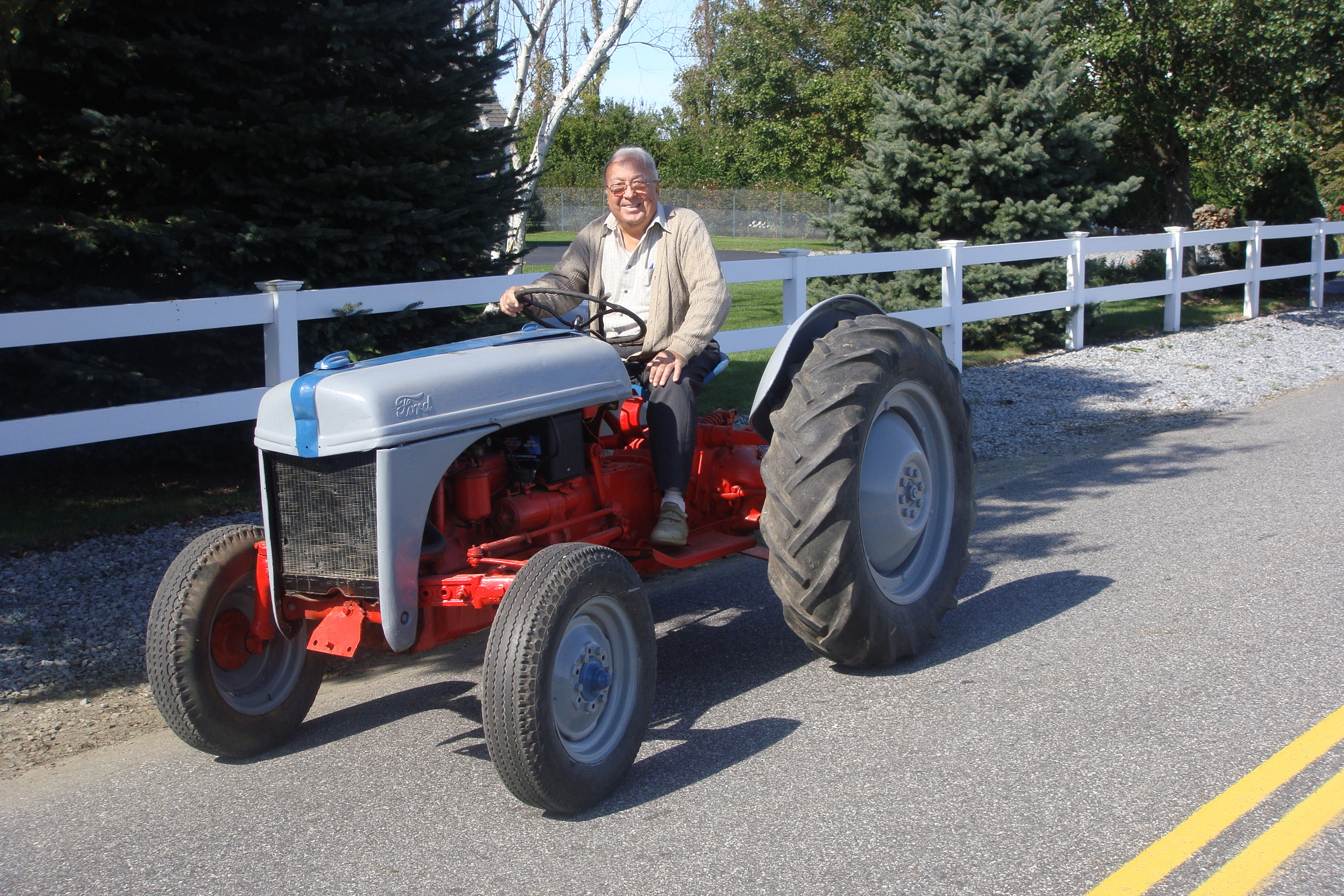 Lou Sr. in 2013, on the same 8N Ford Tractor he started the nursery with in 1964.