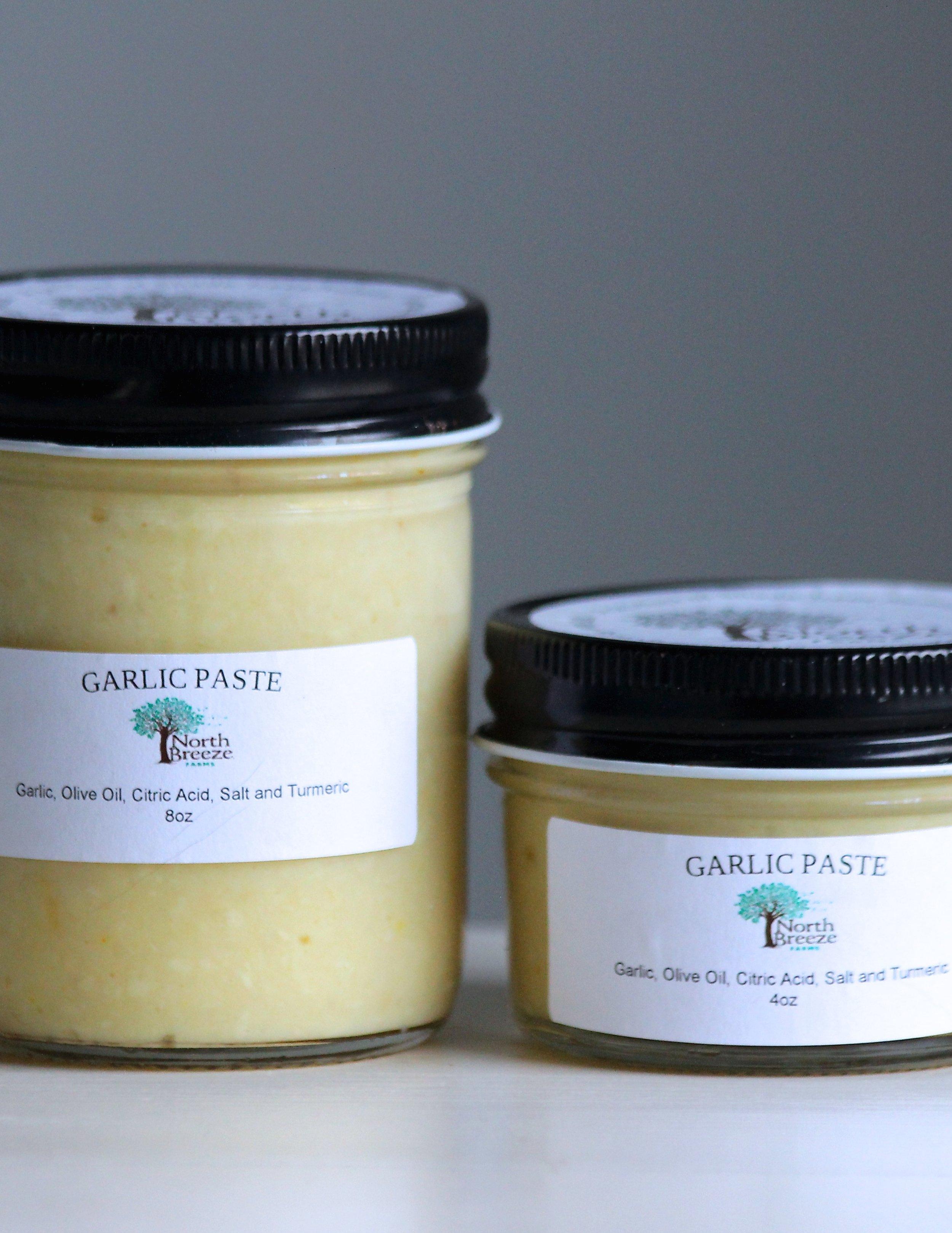 Garlic Paste 4oz $6.50, 8oz $12.50