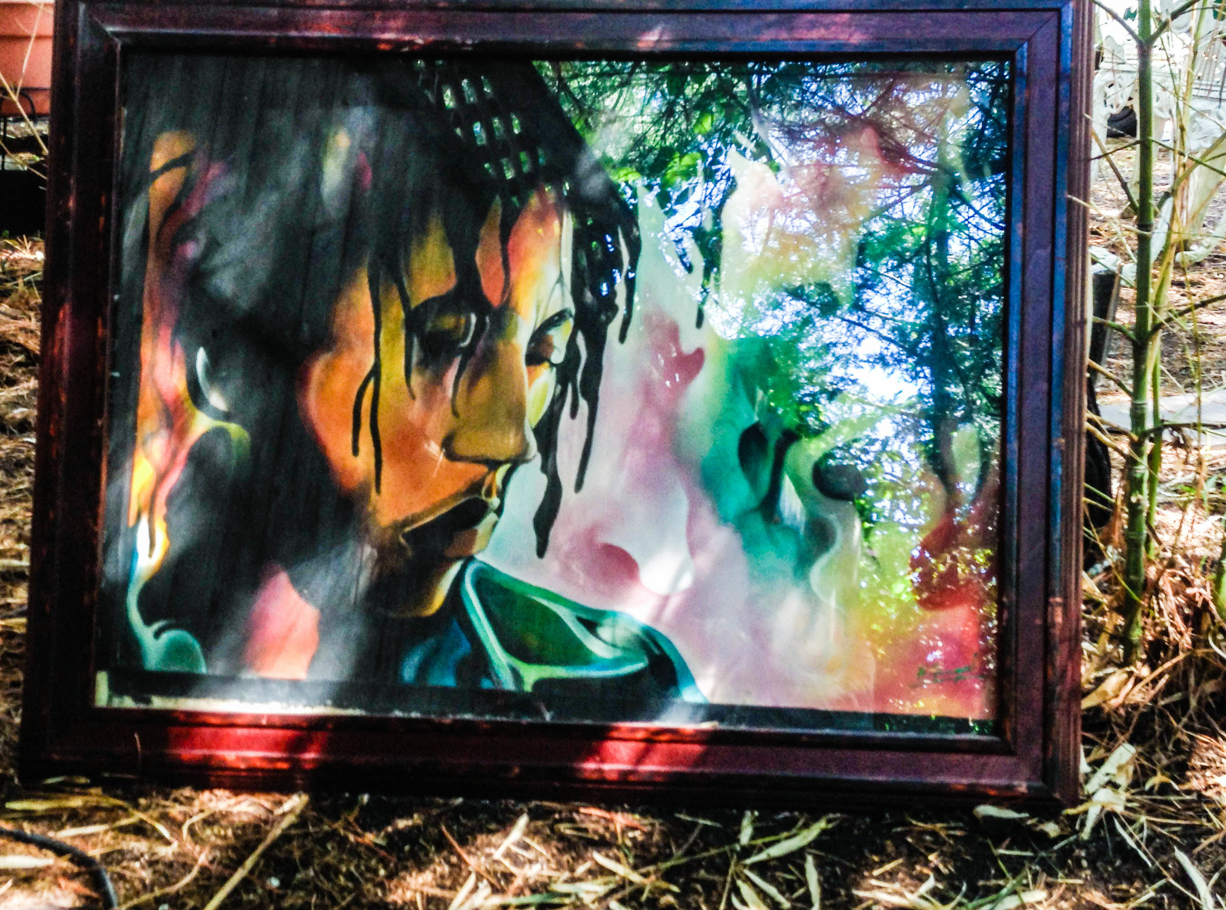 Bob Marley - airbrushed on canvas by Hilroy Fingal