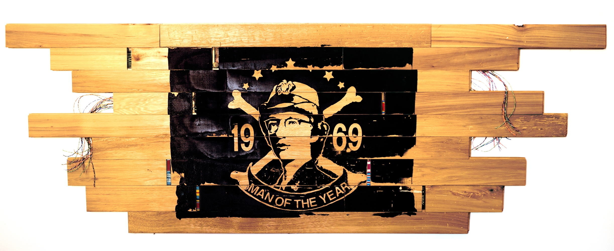 """""""Man of the Year""""    68"""" x 24""""       silkscreen, antique hickory, found objects"""