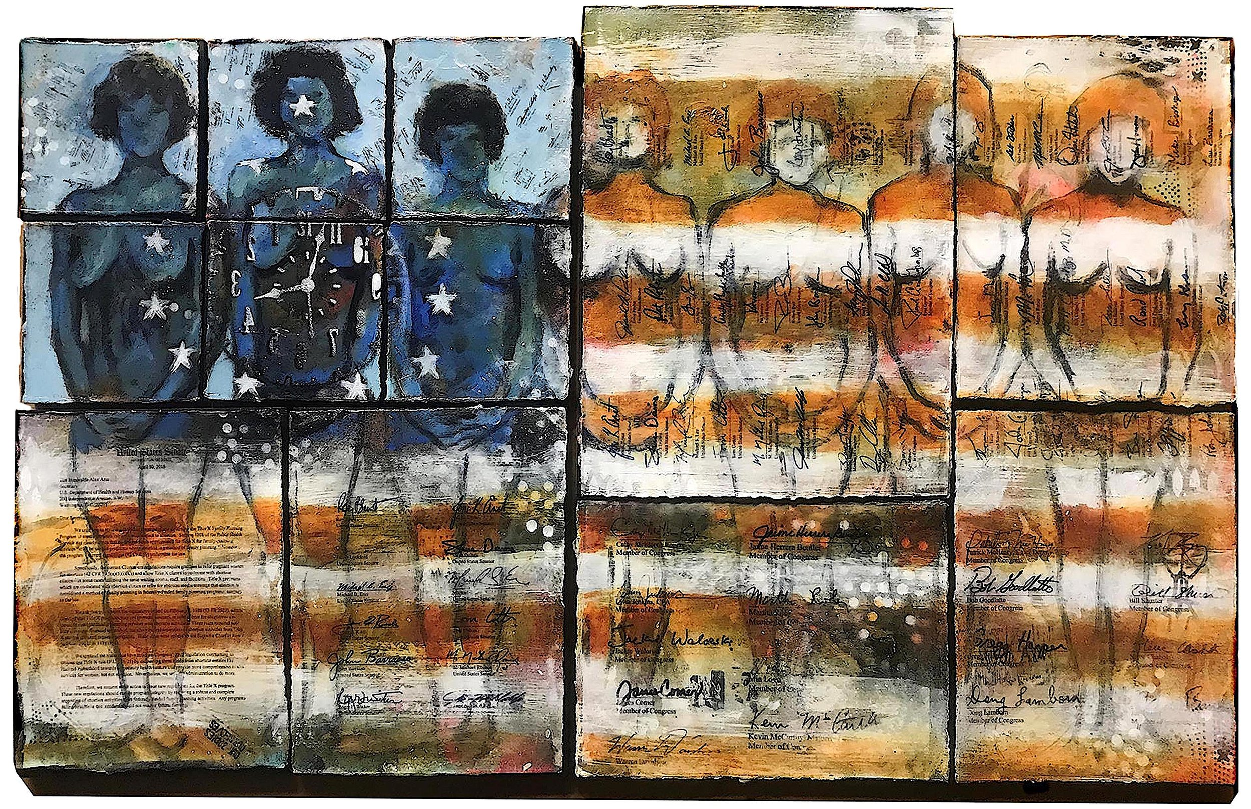 """""""Title X"""" 2018  Polyptych: Acrylic, paper, gel transfer on wood wood panels"""