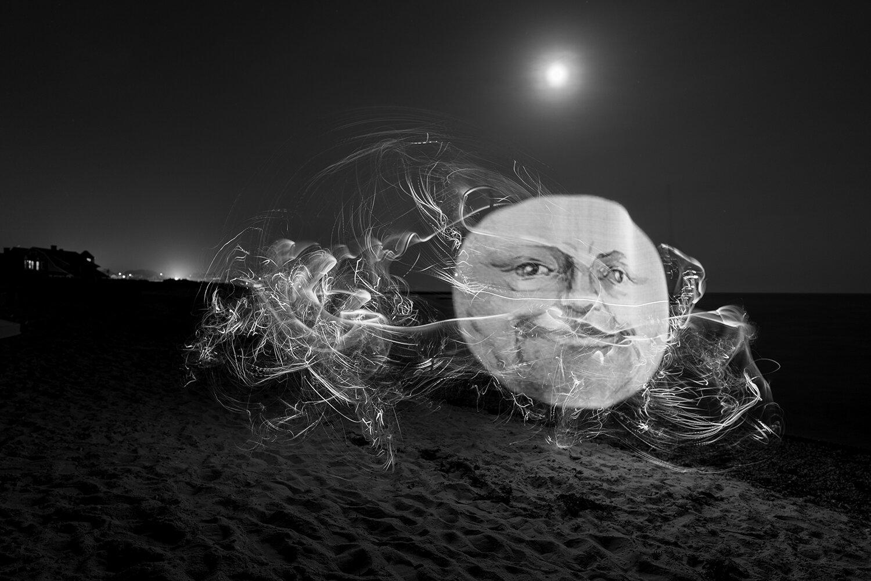"""Moon Face"" light painting long exposure photograph 2019"
