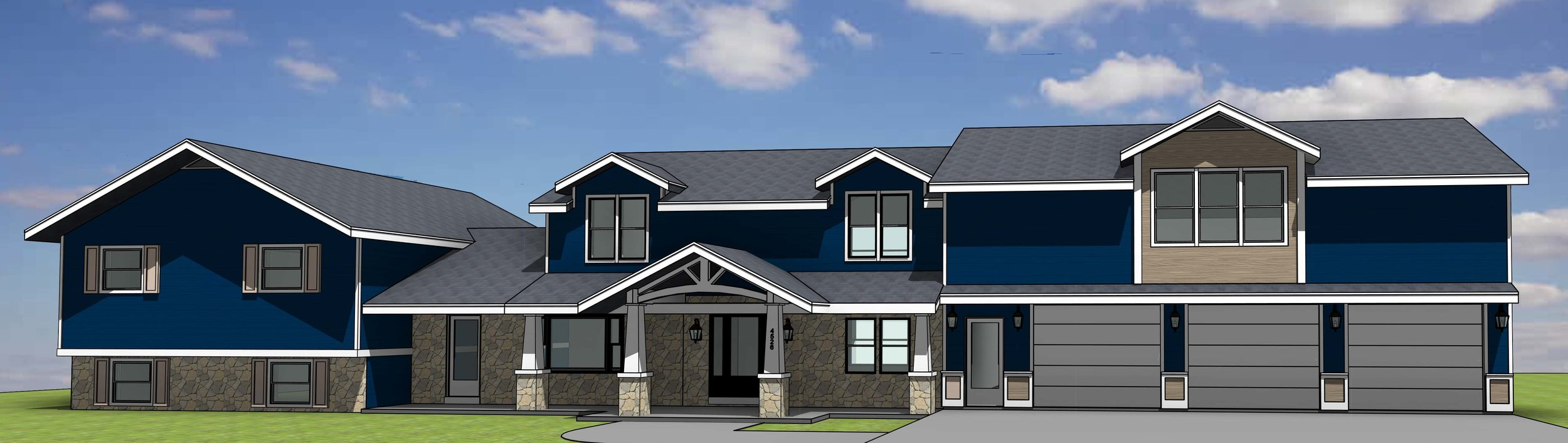 New 2nd story Master Suite addition over existing garage, new main entry and exterior finishes. (Rendering)