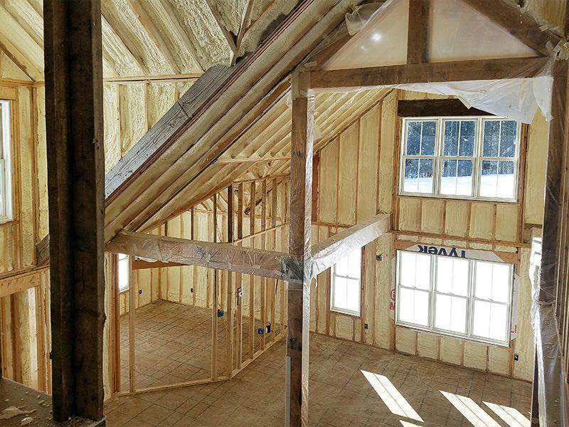 Construction Progress: Interior Spray Foam Insulation Complete.