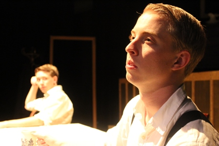 Benjamin as Gar Public in the Aris Theatre production of Philadelphia, Here I Come opposite Kyle Brumley, directed by Rob-Shaw Smith.    Photo Credit: Safaa Sammander