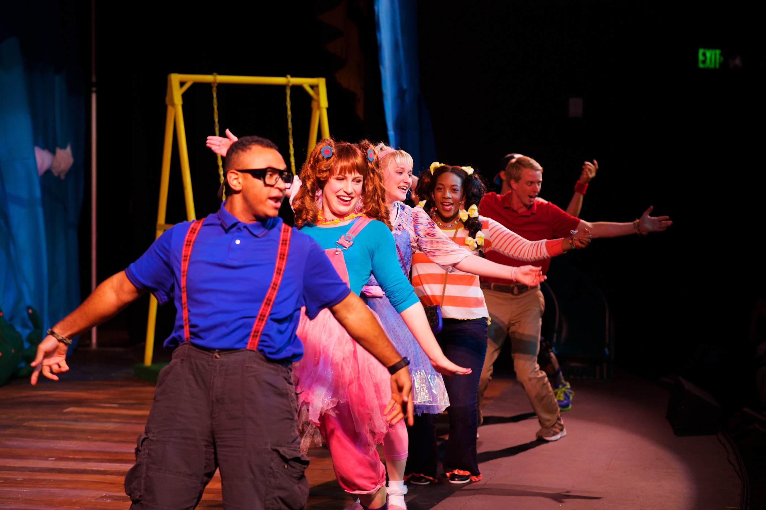 Benjamin with the cast of Stinky Kids at the Aurora Theatre, directed by Jaclyn Hofmann.  Photo: Chris Bartelski