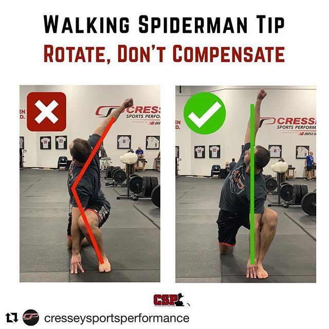 """Make sure you are getting the right motion from the right joints. Also more is not always better with """"stretching""""  @cresseysportsperformance with @get_repost ・・・ Spiderman variations are some of our favorite warmups. They help address ankles, hips, and trunk rotation. We typically include these towards the end of a warmup, right before progressing into dynamic activity. • Many people cheat the rotation on this by throwing their arm back behind their body, especially those who are very mobile or untrained. • On the left, @frankduffyfitness flails his arm behind the midline of his body. He can accomplish this in one of a few ways: by arching his lumbar spine hard, crashing his shoulder blades together, or, putting stress on his anterior shoulder by moving that independently. • On the right, you'll notice Frank's top hand is directly above his bottom hand. Instead of throwing himself into rotation, he aims to rotate his trunk uniformly, allowing the arm to be the last component of rotation. This should feel like you're trying to separate your hands from each other & reach the top hand towards the sky. • Content/copy by @oneilstrength - demonstration skills by @frankduffyfitness • #fitness #exercise #warmup #workout #fitfam #performbetter #gym #cspfamily #cresseysportsperformance #baseballtraining #rotationalpower #elitebaseball"""