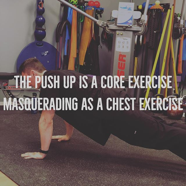 We often think of the push up as a chest or arm exercise but without good midline trunk stability (core) it will look more like the worm than a push up. 🐛