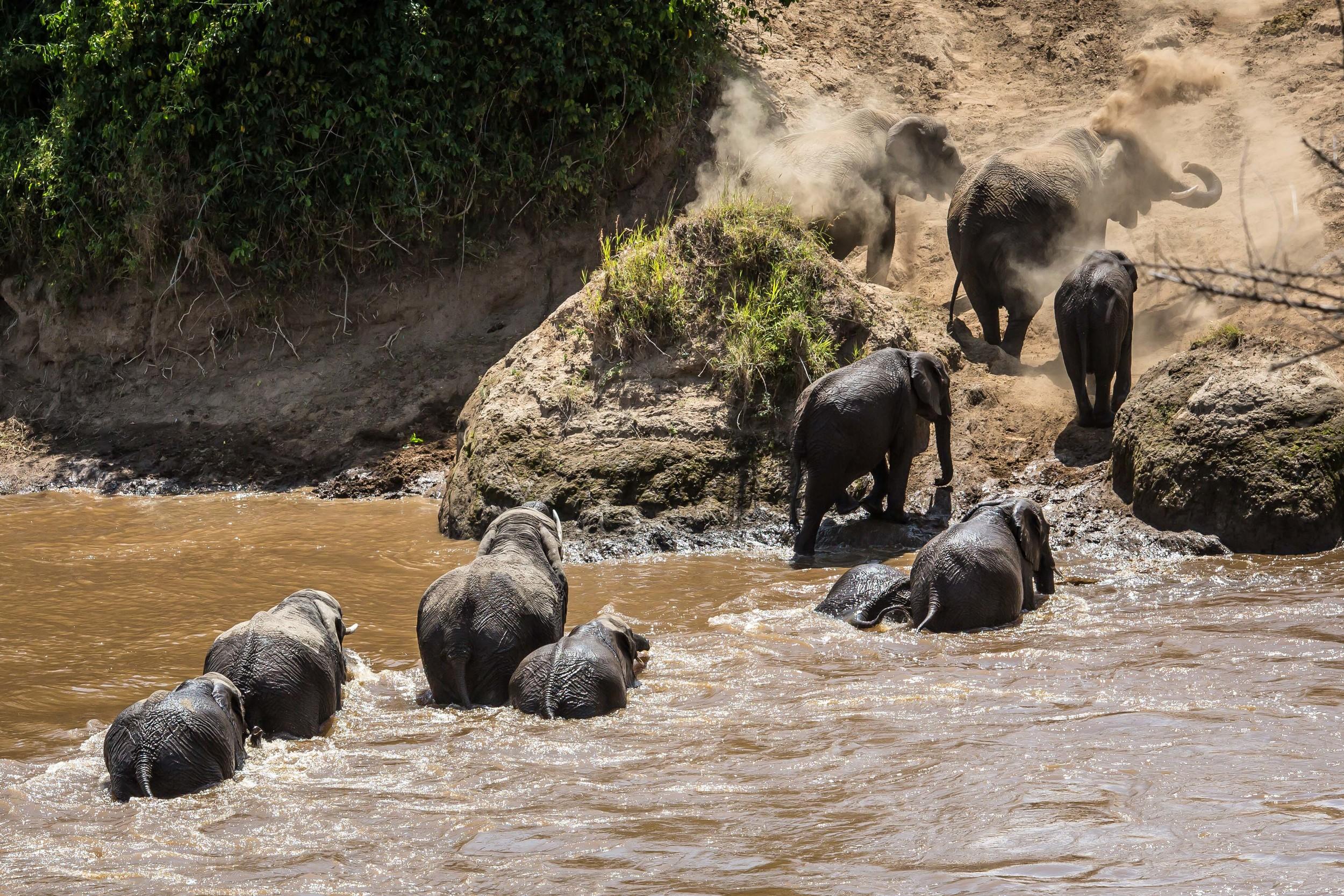Crossing the Masai River, Kenya