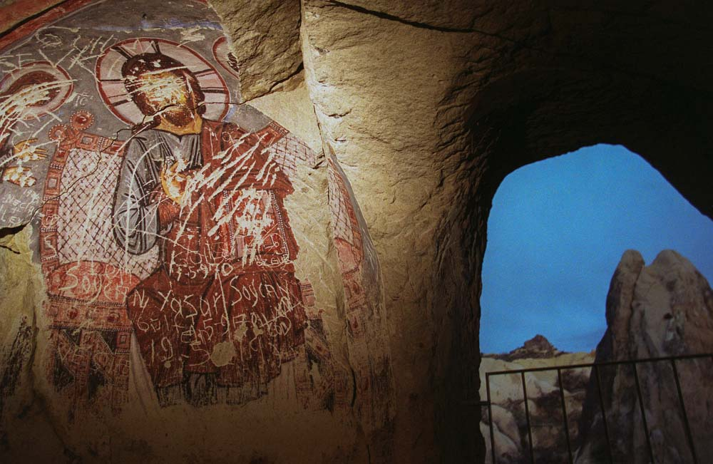 Painting in a cave, Cappadocia, Turkey