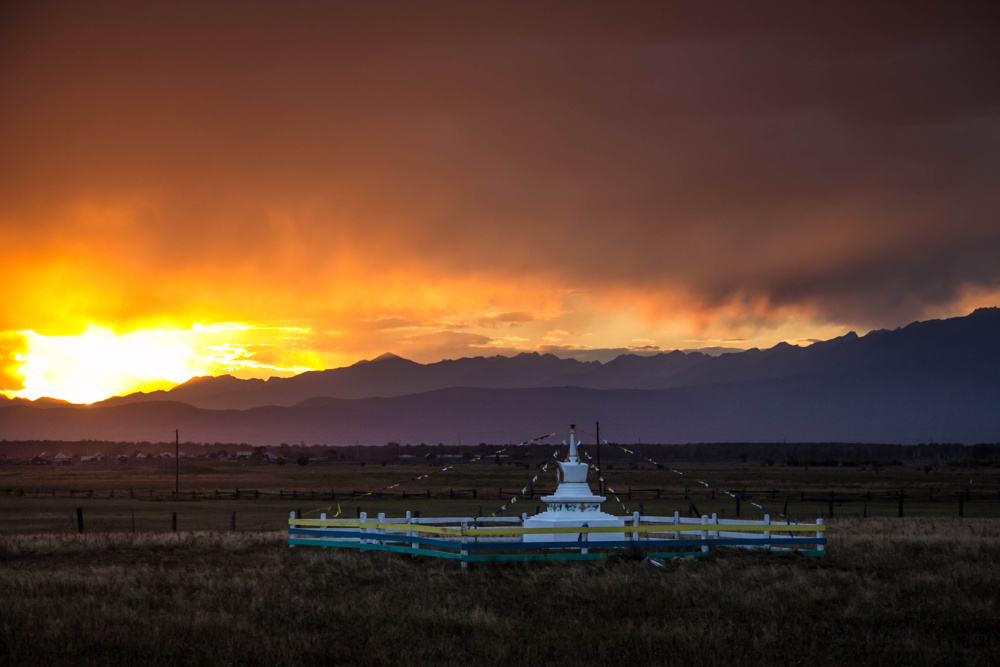 Sunset and Buddhist stupa, Buryatia, Siberia