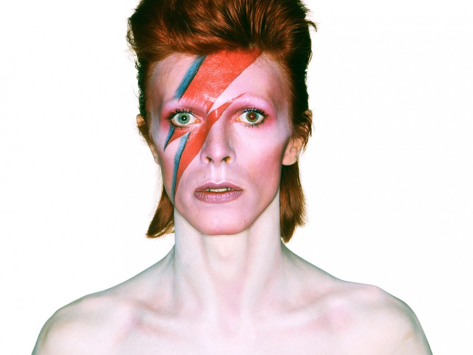 Album cover shoot for  Aladdin Sane , 1973   Design: Brian Duffy and Celia Philo; make up: Pierre La Roche   Photo: Brian Duffy   Photo: Duffy © Duffy Archive & The David Bowie Archive