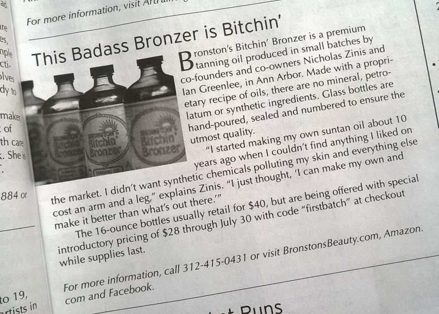 Bronston's Bitchin' Bronzer in Natural Awakenings Magazine