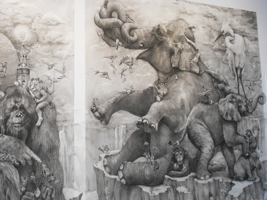 "A small section of ""Elephants"", the 2012 grand prize winning piece by Adonna Khare"