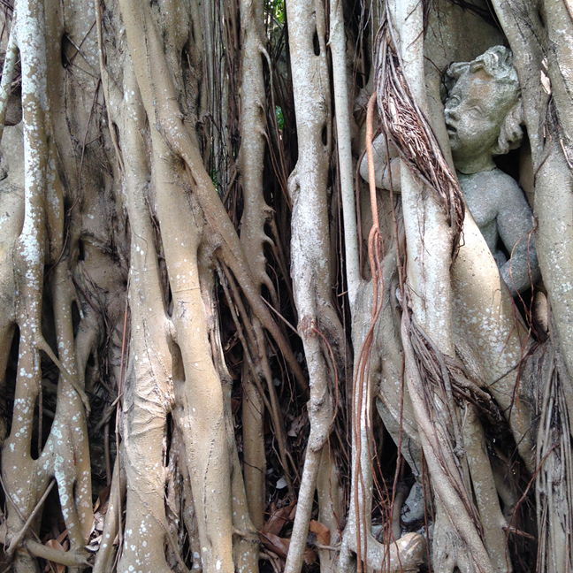 Walkways were dotted with sculptures and this one had become entangled. We almost missed it.