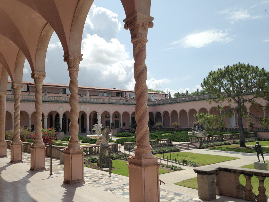 A view of the art museum courtyard filled with sculptures.