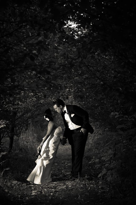 Bluemont Vineyard Bride and Groom in Black and White