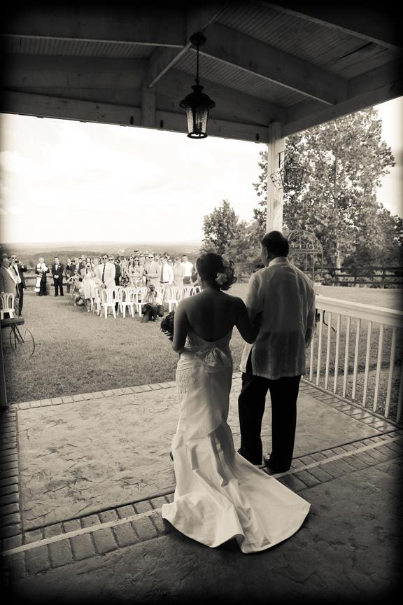 Bluemont VIneyard Bride and Father Walking TO Wedding Ceremony