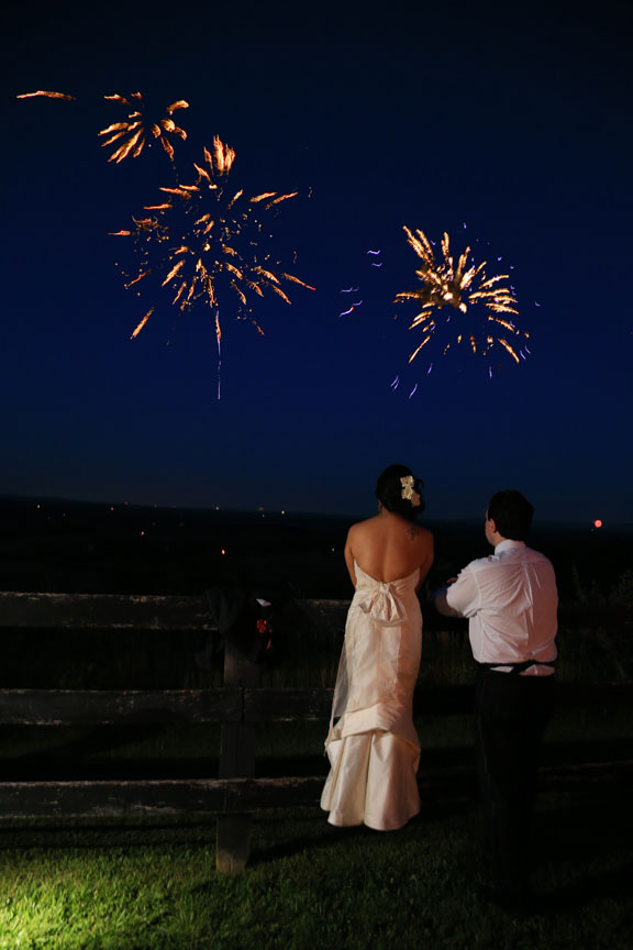 Bluemont VIneyard Fireworks Wedding Photo
