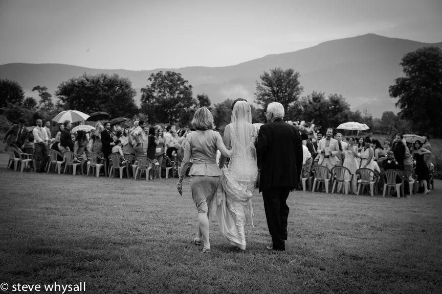 Virginia Farm Wedding Bride Walking To Ceremony