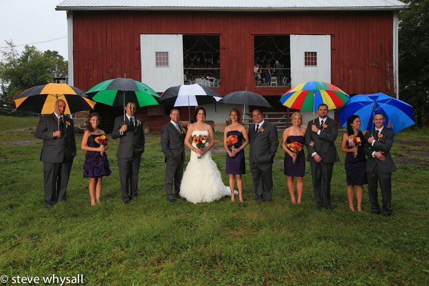 Weather Lea Farm Bridal Party in the rain