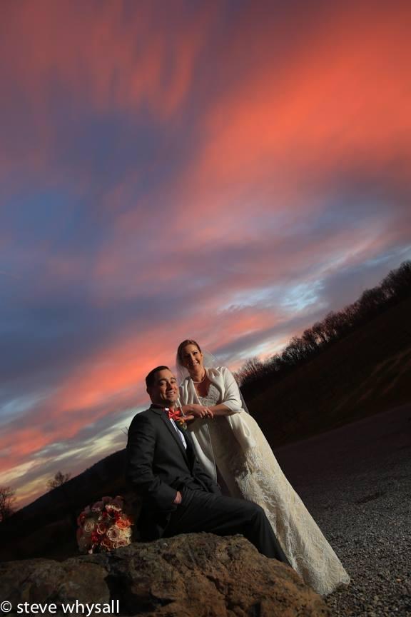 Bride and Groom at Sunset Bluemont Vineyard