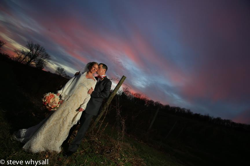 Bluemont Vineyard Bride and Groom in Grove