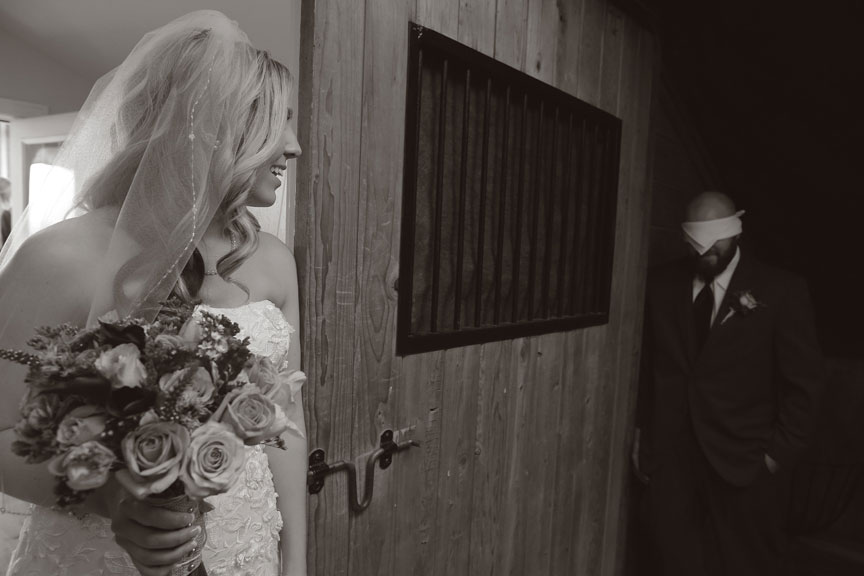 Bluemont Vineyard Bride and Groom No Peak in Black and White Photo