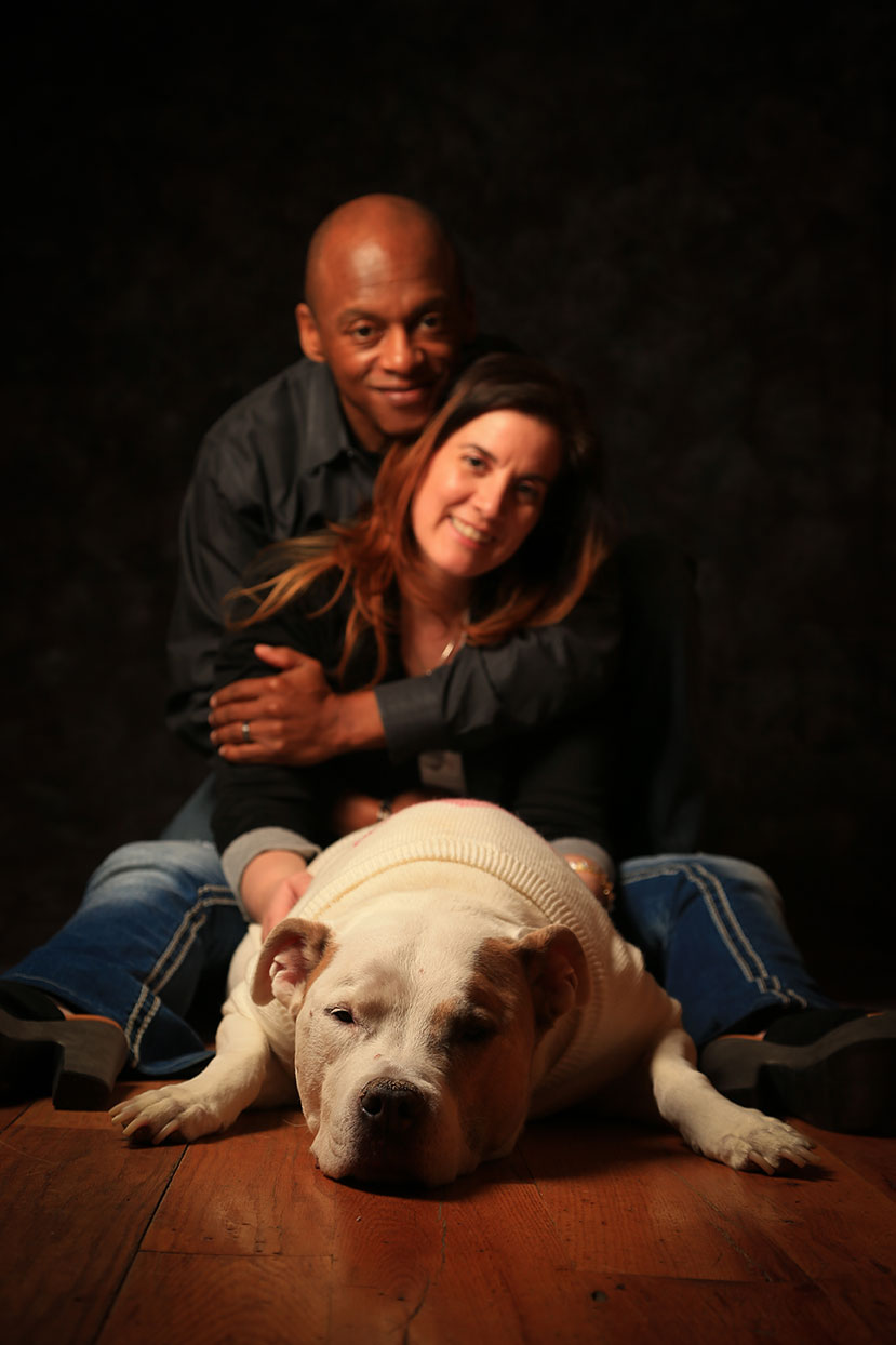 Family Portraits in Studio Mom Dad and Precious The Dog