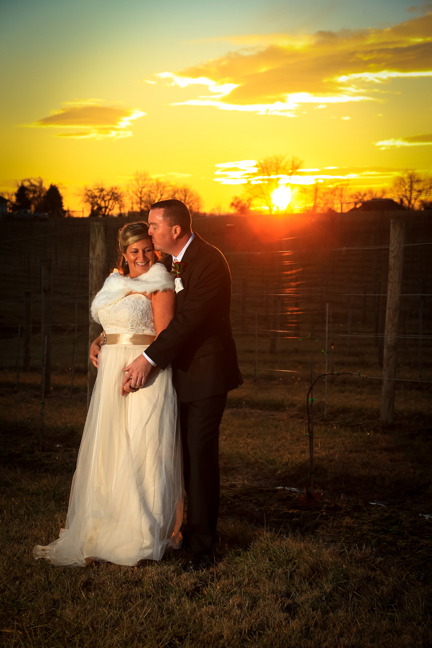 Bride and Groom at Sunset 8 Chains North Winery