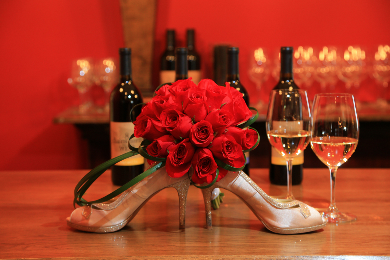 Wedding Shoes and Bridal Bouquet on Bar 8 Chains North Winery