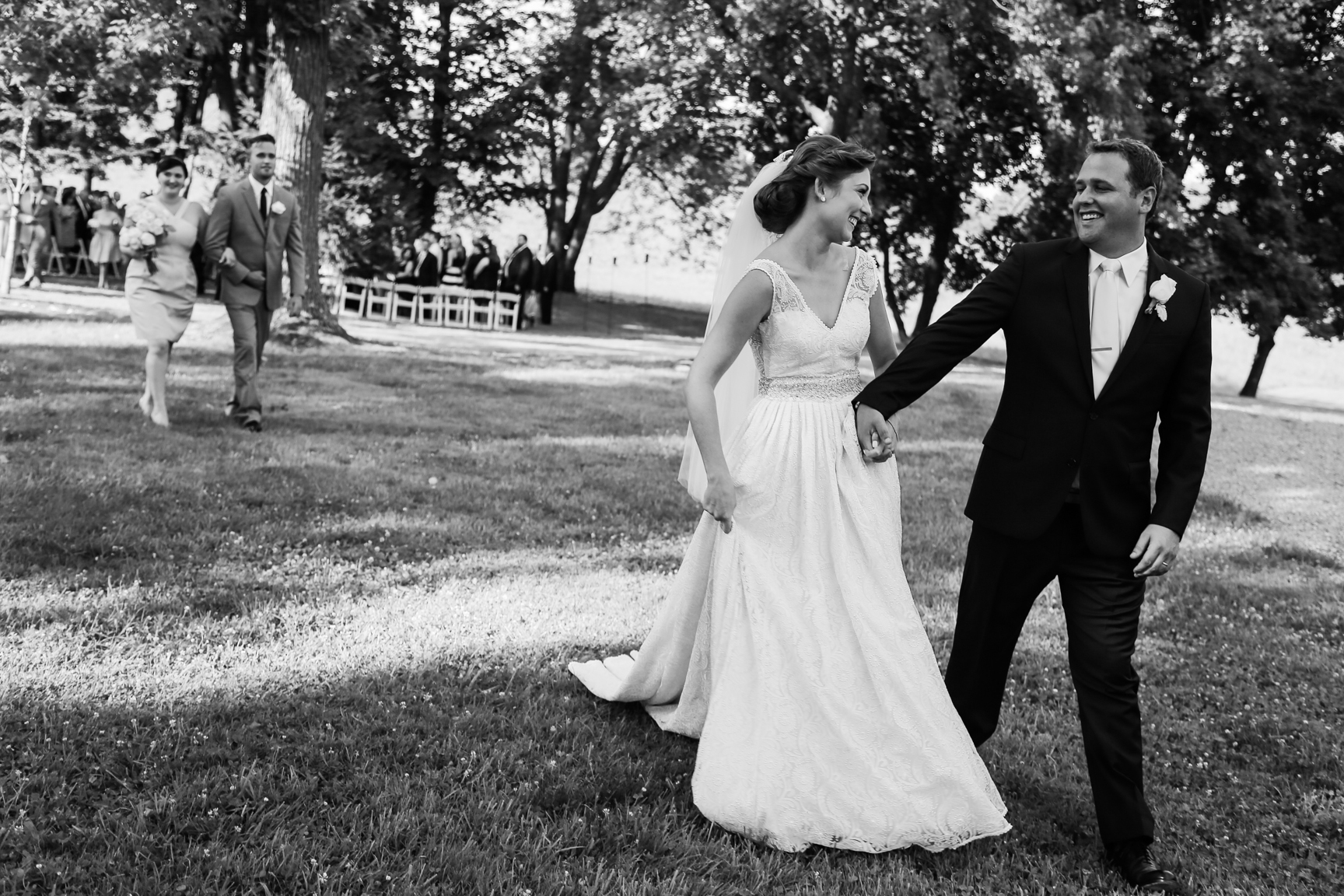 Whitehall Estates Wedding after Ceremony Photo Black and White