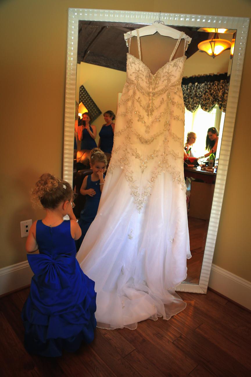 wedding dress and flower girl cana vineyards
