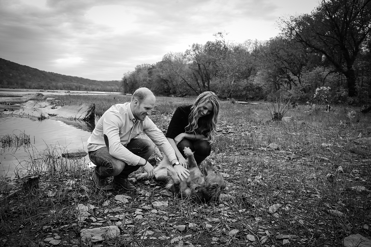 Baker Park Engagement Photo with dog black and white