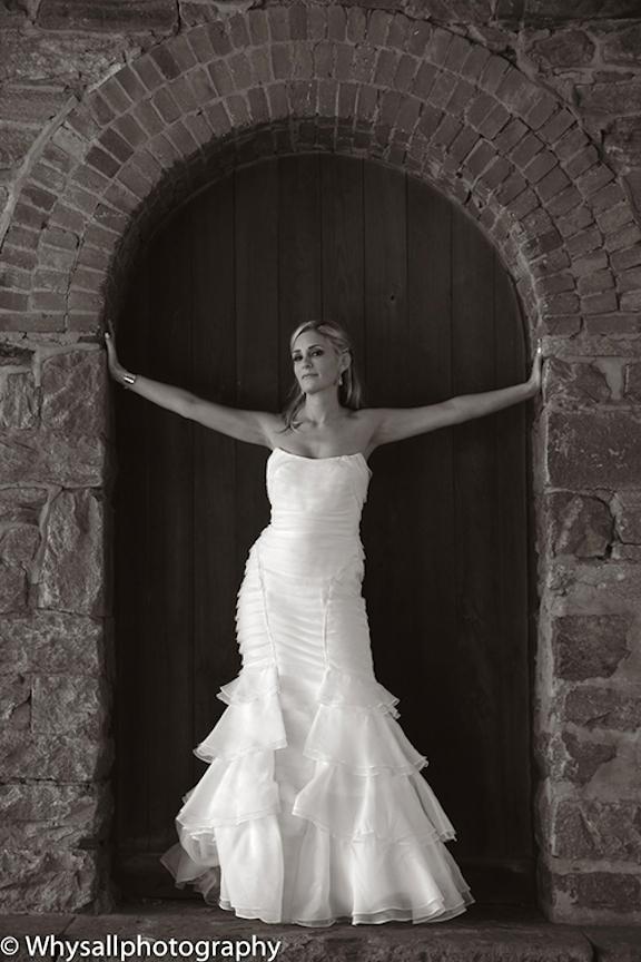 bridal portrait door industrial wedding baltimore md black and white photo