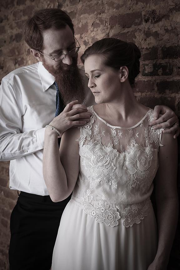 bride and groom in photo studio duo