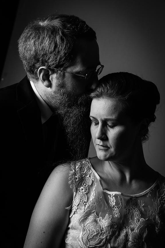 bride and groom in photo studio