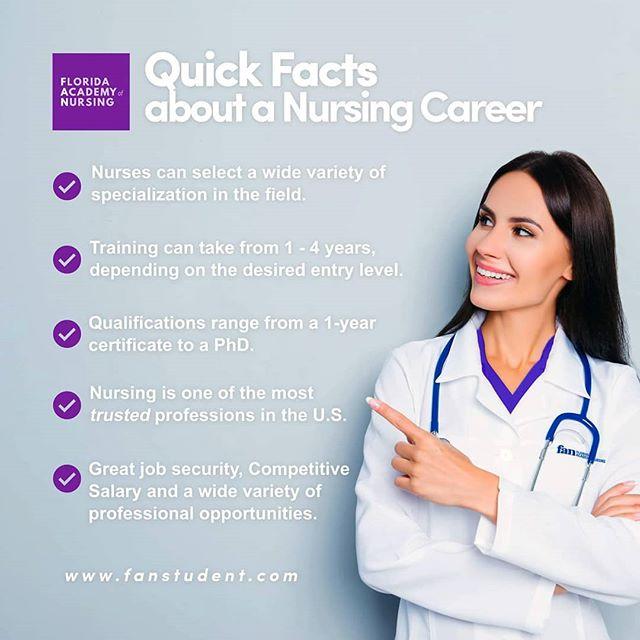 thinking about a career in nursing? here are some quick facts to help your decision. Source: https://www.medicalnewstoday.com/articles/147142.php  We offer an LPN program as well as a Nursing RN-BSN Program.  apply online | book an appointment https://www.fanstudent.com/request-information  Speak to an Admission Representative now! 954.322.1612  www.fanstudent.com  #nurses #nurse #nurselife #nursing #doctors #nursesofinstagram #rn #medical #healthcare #medicine #nursesrock #hospital #nursingschool #health #registerednurse #nursepractitioner #doctor #nursestudent #nurseonduty #studentnurse #hospitals #nursingstudent #nursehumor #nurseslife #nightshiftnurse #surgery #ernurse #nursetobe