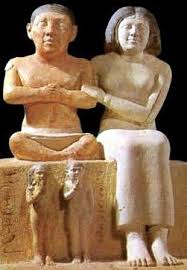 Seneb and his wife, a 4th or early 5th Dynasty dwarf. He was overseer of the palace dwarfs, chief of the royal wardrobe and priest of the funerary cults of Khufu.