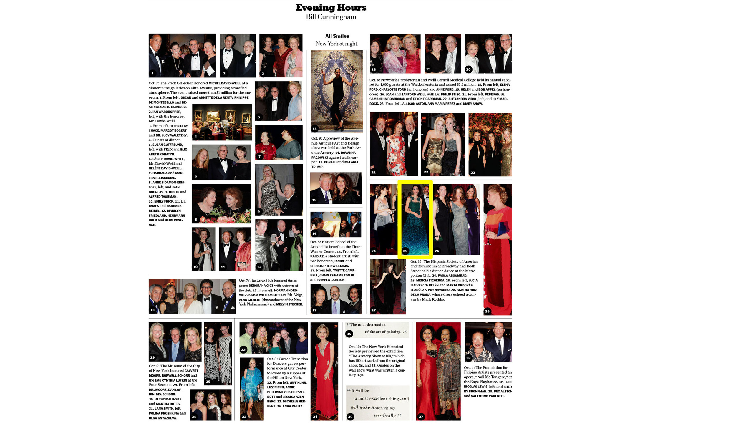 NY Times Sunday Style Section.   FA Client in Emerald Ombre Gown.   Hispanic Society Gala, New York.   October 2013