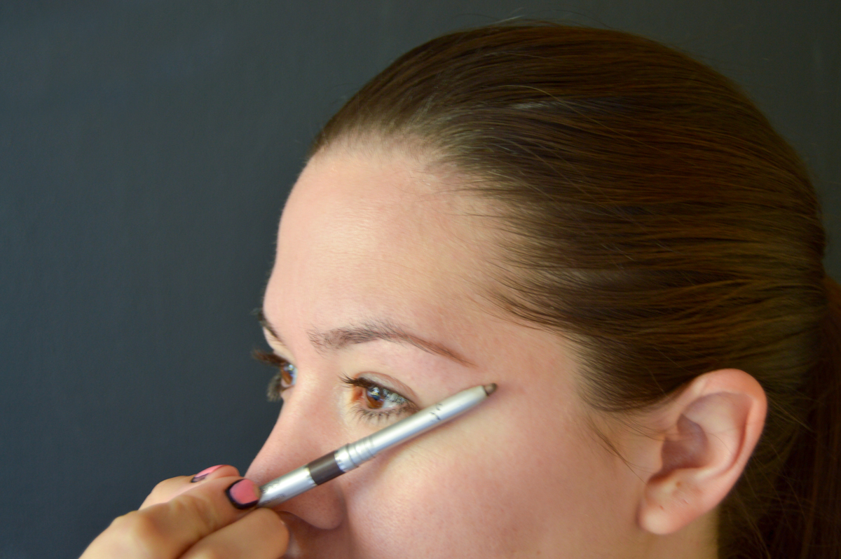 3. Your brow should end diagonally inline with the corner of your eye. To measure place the pencil along this line.