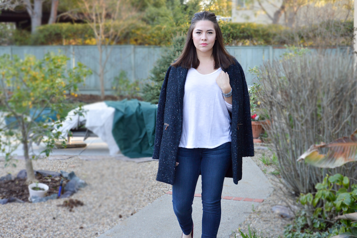 Draped Coat, Skinny Jeans via. Birdie Shoots